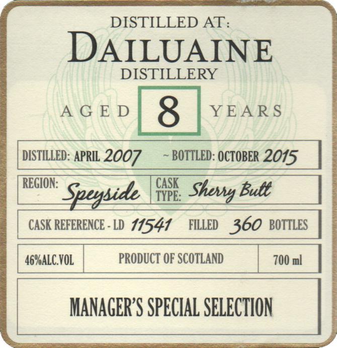 Dailuaine 2007 DoD