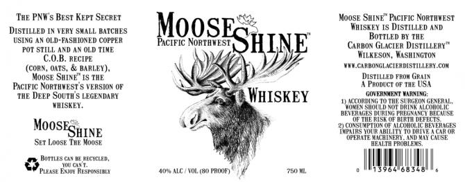 Carbon Glacier Distillery Moose Shine Whiskey