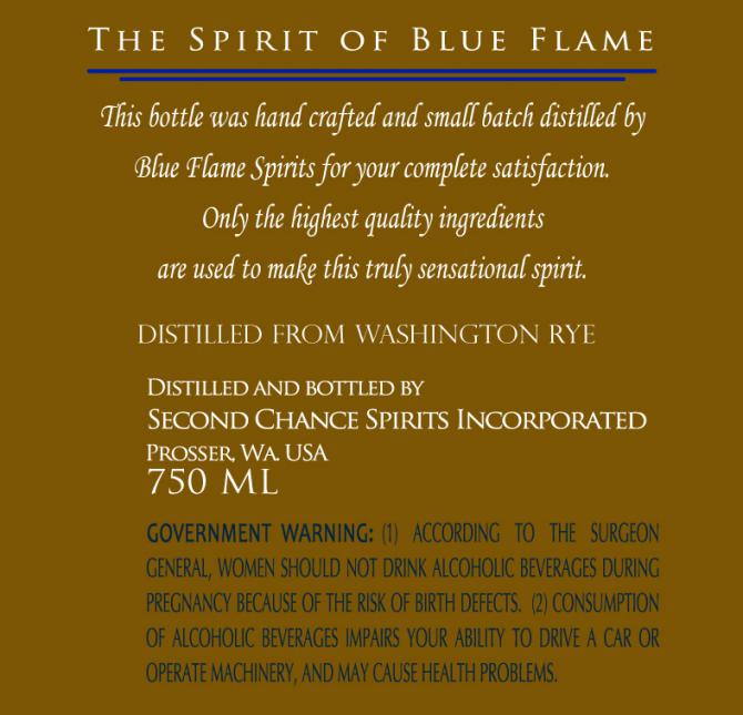Blue Flame Spirits Washington Rye Whiskey