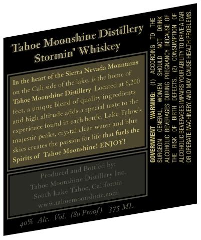 Tahoe Moonshine Stormin' Whiskey