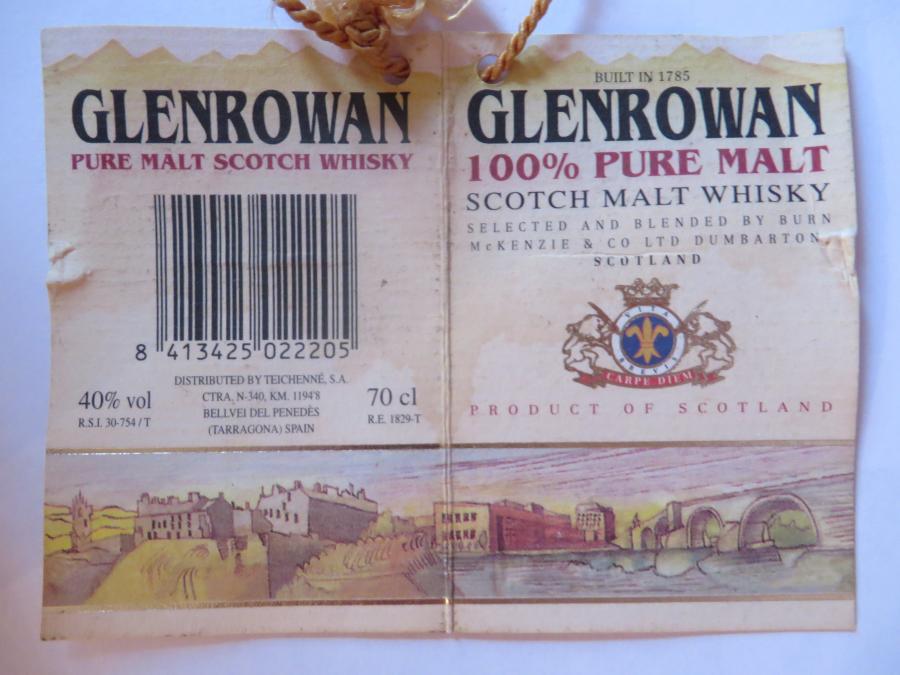 Glenrowan Scotch Malt Whisky BMcK