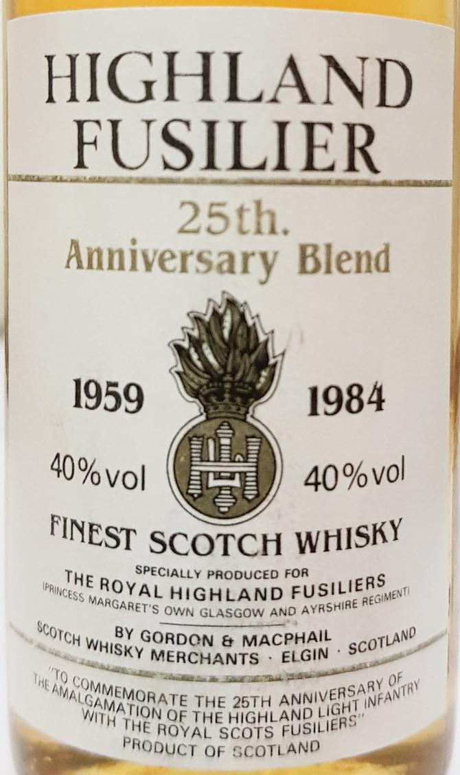 Highland Fusilier 25th Anniversary Blend 1959-1984