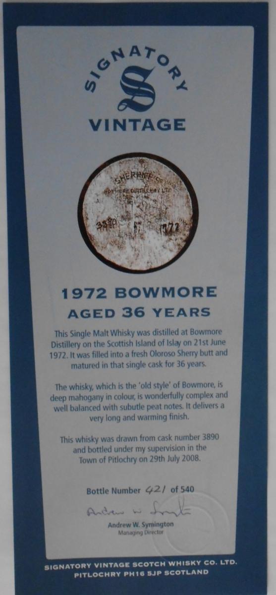 Bowmore 1972 SV