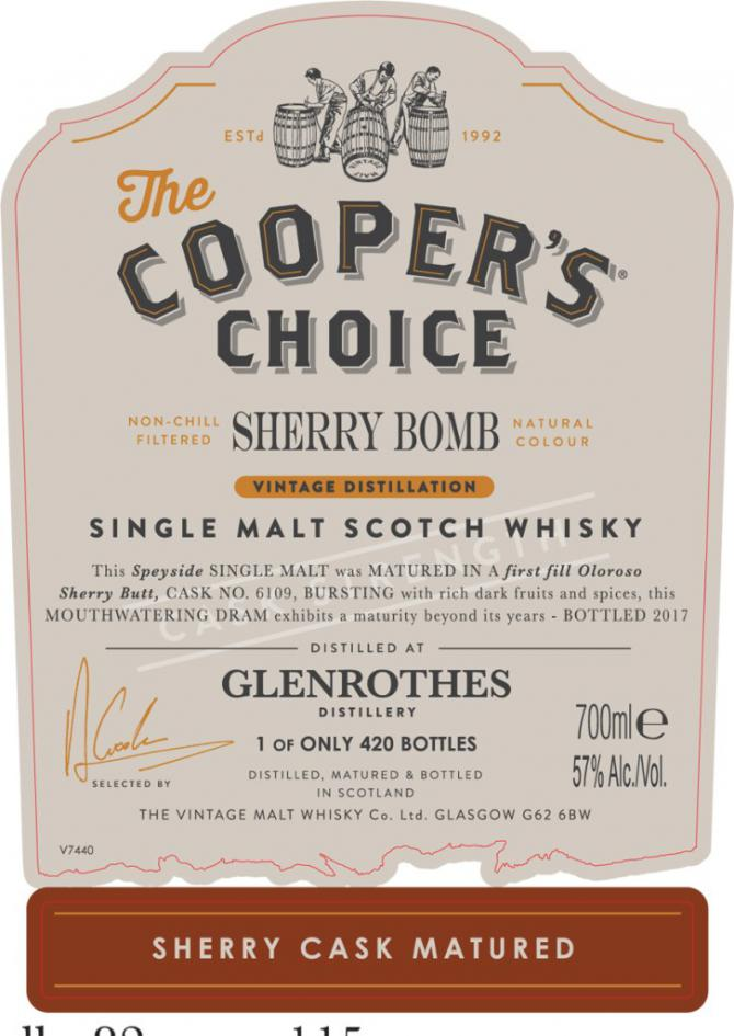 Glenrothes Sherry Bomb CC