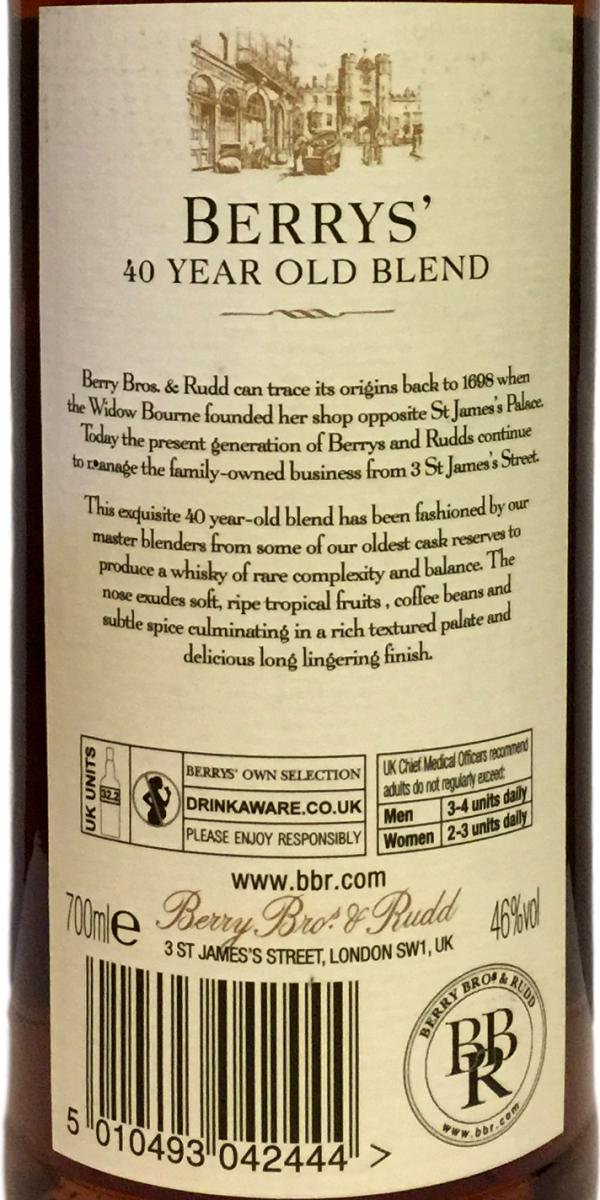 Blended Scotch Whisky 40-year-old BR