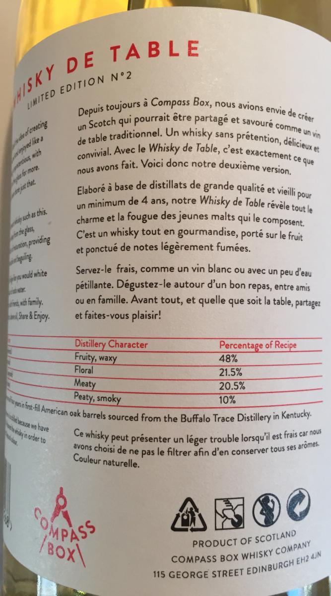 Whisky de Table Blended Malt Scotch Whisky CB