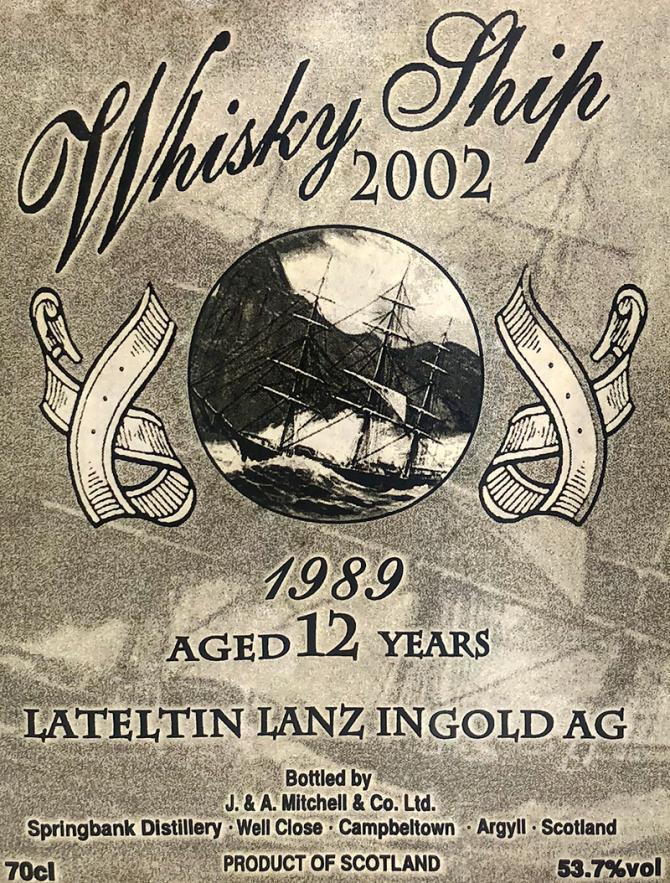 Springbank 1989 Whisky Ship 2002