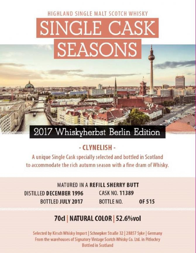 Clynelish 1996 SV Whiskyherbst Berlin Edition